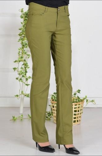 Likralı Boru Paça Pantolon 2310-08 Açık Haki Yeşil
