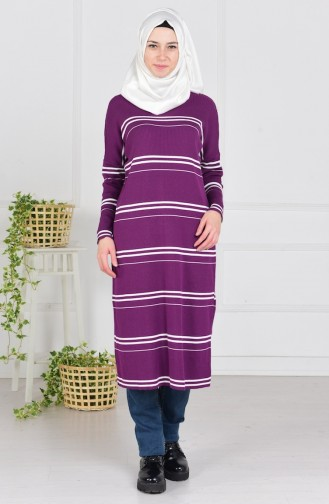 Pull Tricot a Rayure 3850-03 Pourpre 3850-03
