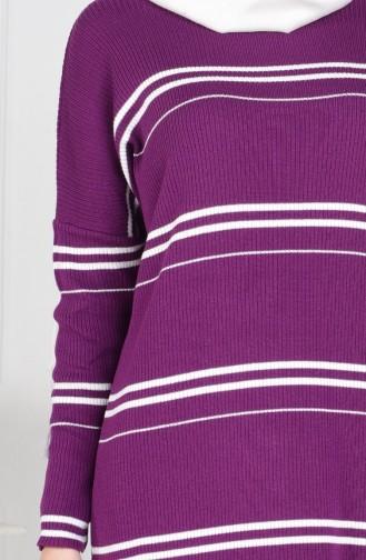 ايلميك بلوز تريكو بتصميم مُخطط 3850-03 لون بنفسجي 3850-03