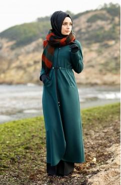 Simli Kışlık Ferace 1025-05 Zümrüt Yeşil Sefamerve