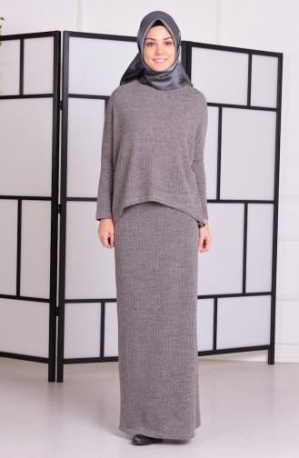 Örme Bluz Etek Takım 5033-05 Gri Sefamerve