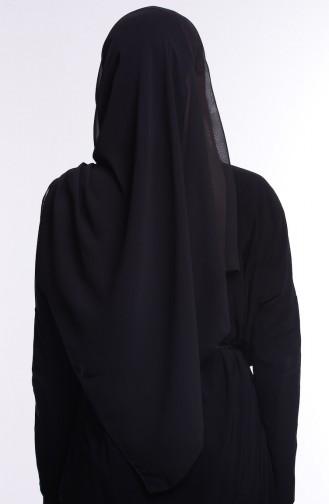 Bantlı Şifon Şal 9903-03 Siyah Vizon