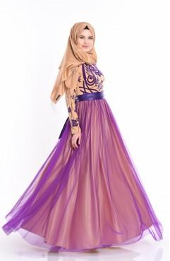 Flok Baskılı Abiye Elbise 1089A-01 Gold Sefamerve
