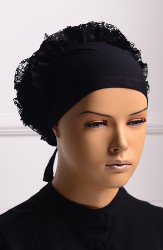 Bonnet a Dentelle et Froufrous 01 Noir 01