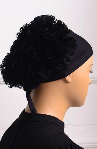 غطاء رأس بتفاصيل من الكشكش باللون الأسود 01