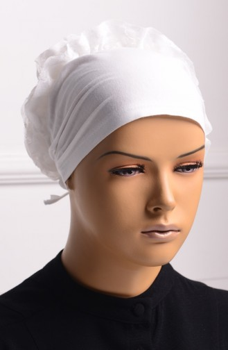 Falbel Bonnet mit Spitzen 02 Weiß 02