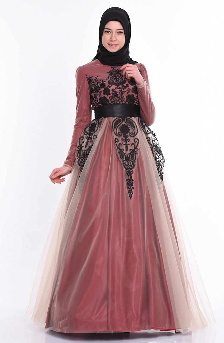 Embroidery Evening Dress 1091-01 Bordeaux 1091-01 6a02d5bc98