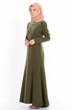 Taş Baskılı Elbise 1722-01 Haki Yeşil Sefamerve