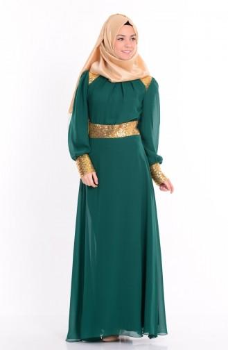 Pul İşlemeli Abiye Elbise 2428-14 Koyu Yeşil Sefamerve