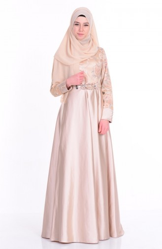 Beige Islamic Clothing Evening Dress 6885-02