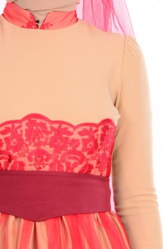 Robe de Soirée Détail Dentelle 1092-01 Gold Rouge 1092-01