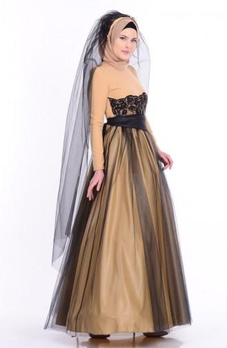 Dantel Detaylı Abiye Elbise 1092-03 Gold Siyah