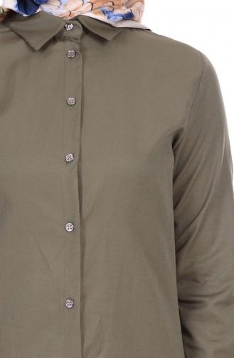 Düğmeli Tunik 2101-16 Haki Yeşil