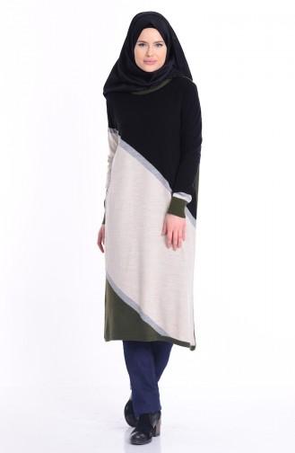 iLMEK Patterned Knitwear Sweater 3880-06 Black Beige 3880-06