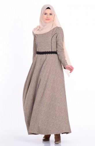 Güpür Detaylı Kloş Elbise 7060-06 Vizon Sefamerve