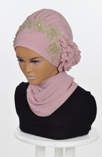 شال للرأس من الشفون لون وردي  0006-11