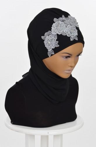 Fertige Kopftuch aus Chiffon-Schwarz HT0006-14 0006-14