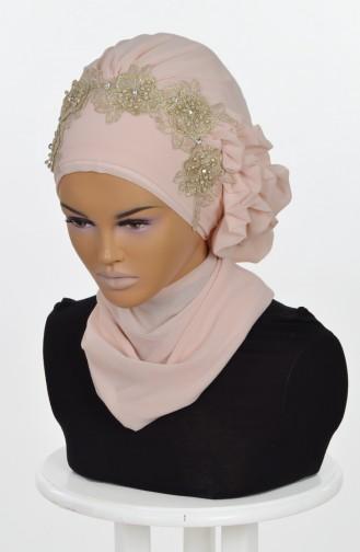 شال للرأس من الشفون لون بيج 0006-5