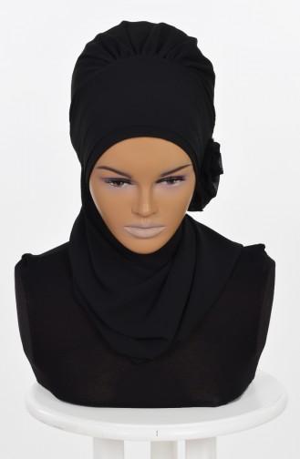Fertiges Kopftuch aus Chiffon-Schwarz HT0026-14 0026-14