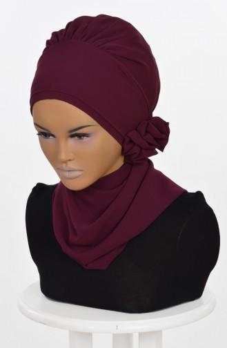 Fertiges Kopftuch aus Chiffon-Zwetschge HT0026-18 0026-18
