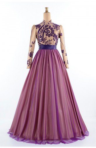 Flok Baskılı Abiye Elbise 1089A-01 Gold