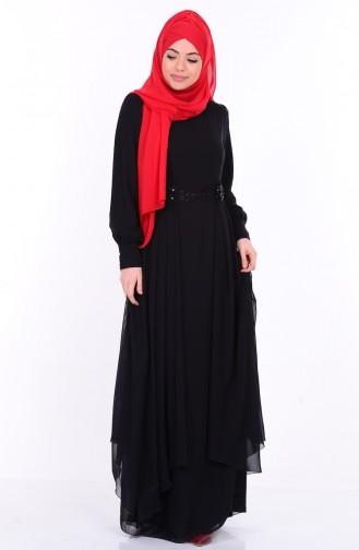 Çiçek Detaylı Elbise 52559-04 Siyah Sefamerve