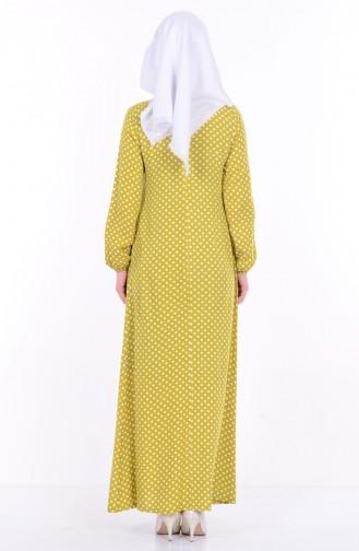 Bağcık Detaylı Elbise 1147-01 Yağ Yeşil