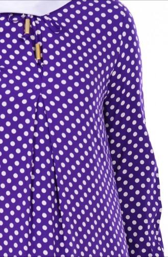 Bağcık Detaylı Elbise 1147-03 Mor