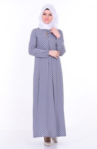 Bağcık Detaylı Elbise 1147-06 Gri