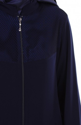 Abaya mit Netz Detail 1007-02 Dunkelblau 1007-02