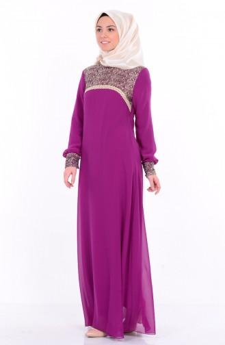 Şifon Nakışlı Elbise 99001-02 Mor Sefamerve