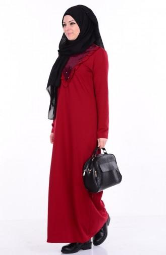 Payet Detaylı Fırfırlı Elbise 1322-04 Bordo Sefamerve