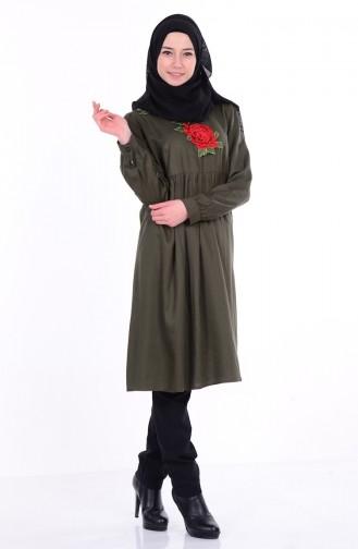 İşlemeli Tunik 1507-03 Haki Yeşil Sefamerve