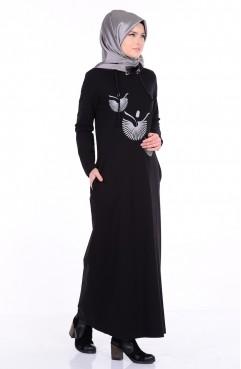 Baskılı Basic Elbise 1290-01 Siyah Sefamerve