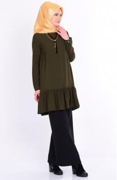 Eteği Fırfırlı Kolyeli Bluz 4401-03 Haki Yeşil Sefamerve