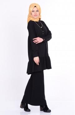 Eteği Fırfırlı Kolyeli Bluz 4401-01 Siyah Sefamerve