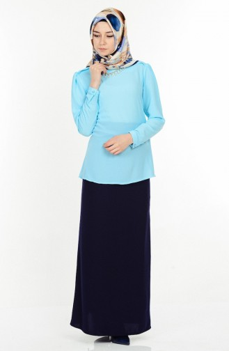Kolye Detaylı Bluz 4064-04 Bebe Mavi Sefamerve