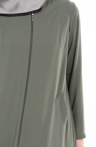 Fermuarlı Ferace 1044-01 Haki Yeşil