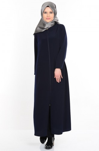 Abaya a Fermeture 1044-03 Bleu Marine 1044-03