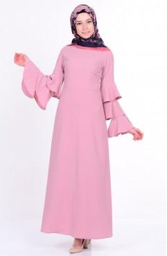 Kolu Fırfırlı Elbise 7235-04 Pudra Sefamerve