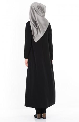 Abaya a Fermeture 1044-04 Noir 1044-04