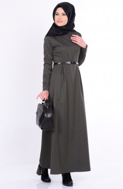 Kemerli Pileli Elbise 2670-03 Haki Yeşil Sefamerve