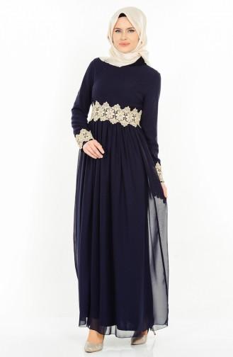 Dantel Detaylı Abiye Elbise 2906-04 Lacivert Sefamerve