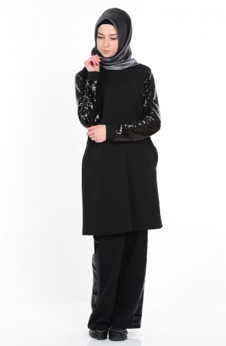 Tunik Pantolon İkili Takım 1316-01 Siyah Sefamerve