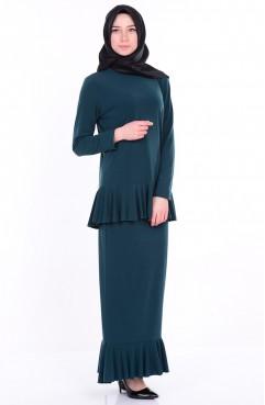 Etek Bluz İkili Takım 4021-05 Zümrüt Yeşil Sefamerve