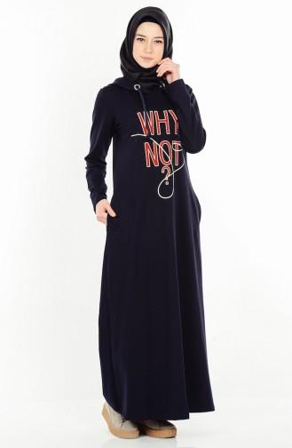 Baskılı İki İp Elbise 1289-02 Lacivert Sefamerve