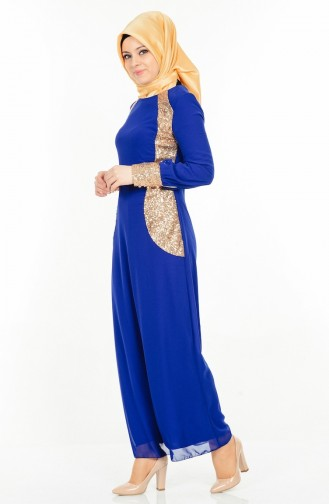 Payet Detaylı Abiye Elbise 2874-03 Saks Sefamerve