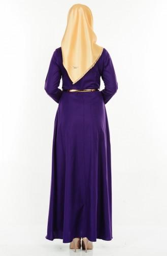 Kemerli Elbise 5490-08 Mor