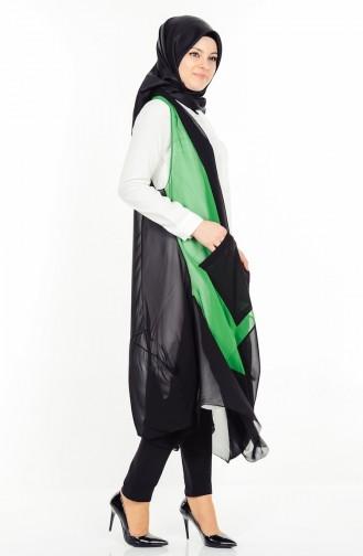 Dökümlü Yelek 0510-01 Siyah Yeşil