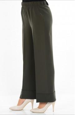 Beli Lastikli Pantolon 1006-05 Haki Yeşil Sefamerve